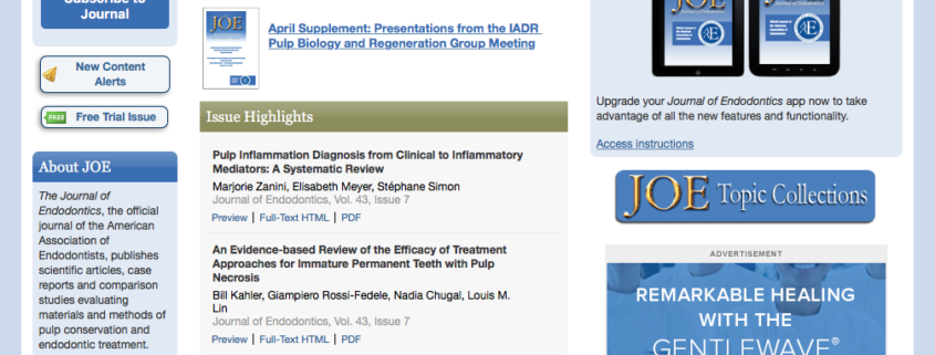 """ASI in """"Journal of Endodontics"""""""